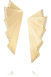 Ileana Makri Fan 18-karat gold diamond earrings