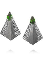 Fan oxidized 18-karat gold, diamond and diopside earrings