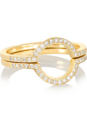 Circle set of two 18-karat gold diamond rings