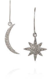 Indian Moon and Sun oxidized silver diamond earrings