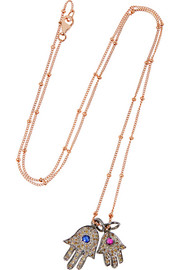 Fatima Hands rose gold-plated and silver multi-stone necklace
