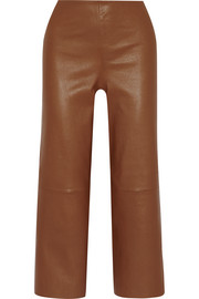 Paqia leather wide-leg pants