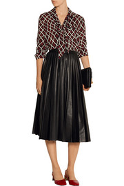 Asla pleated faux leather skirt