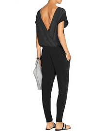 Olia washed silk-paneled stretch-crepe jumpsuit