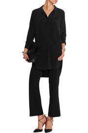 Kathleen two-tone silk crepe de chine blouse