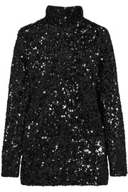 Zio sequined satin-jersey top