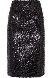 Poliio sequined satin-jersey pencil skirt