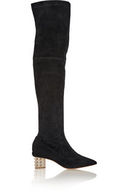 Stud Prism embellished stretch-suede over-the-knee boots