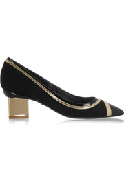 Polly Prism metallic and patent leather-trimmed suede pumps