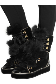 Polly shearling, velvet and patent-leather boots