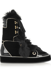 Nicholas Kirkwood Polly shearling, velvet and patent-leather boots
