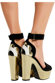 Velvet, metallic and patent-leather sandals