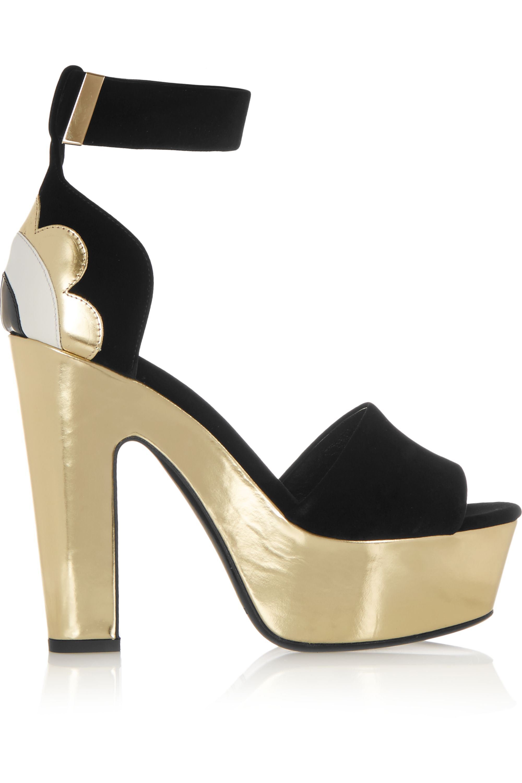 Nicholas Kirkwood Velvet, metallic and patent-leather sandals