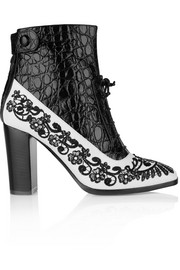 Nicholas Kirkwood + Erdem embroidered matte and croc-effect leather ankle boots