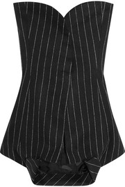 Strapless pinstriped wool and angora-blend top