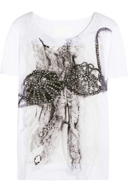 Printed silk-appliquéd cotton T-shirt