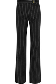 Pinstriped wool and angora-blend wide-leg pants