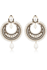 Givenchy Clip earrings in gold-tone brass, pearl and crystal