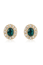 Round earrings in gold-tone and crystal