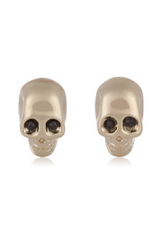 Skull earrings in pale gold-tone and crystal