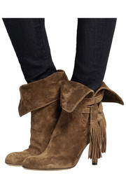 Tassel-trimmed suede ankle boots