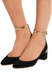 Suede and mirrored-leather pumps