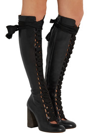 Chloé Lace-up leather knee boots