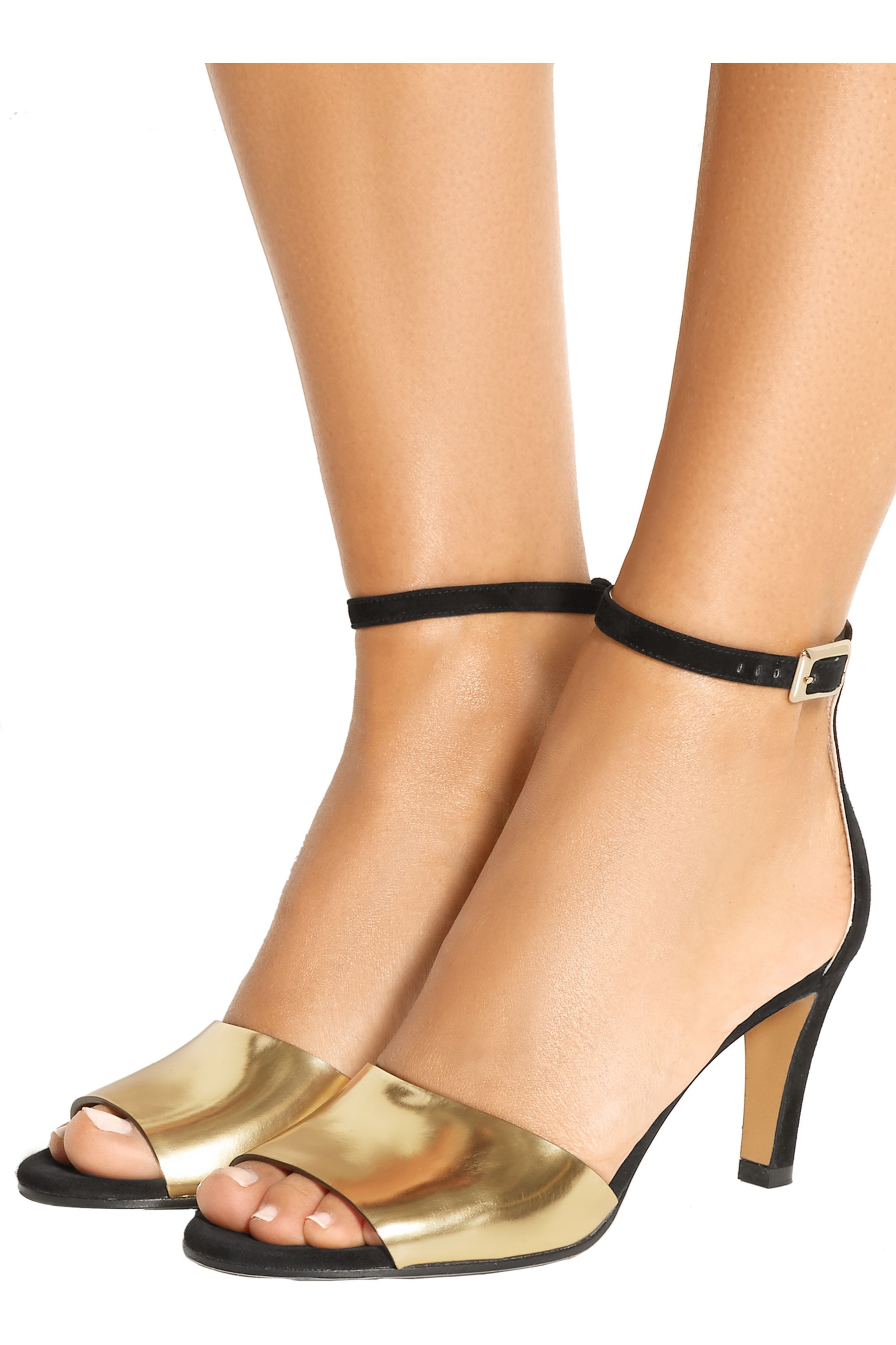 Chloé Metallic leather and suede sandals