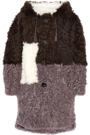 Hooded color-block shearling coat