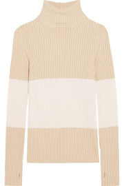 Fendi Stripe ribbed stretch-cashmere turtleneck sweater