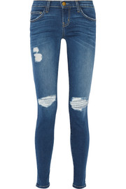 The Ankle Skinny distressed mid-rise jeans