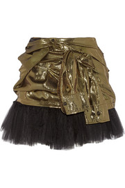 Silk-blend lamé and tulle mini skirt