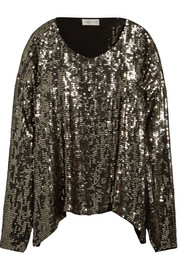 Sequined organza top