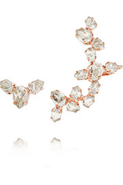 Rose gold-plated Swarovski crystal ear cuff and stud earring