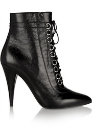 Fetish textured-leather ankle boots