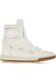 Shearling-lined leather and shell high-top sneakers