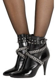 Embellished leather ankle boots