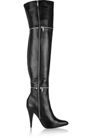 Embellished leather thigh boots