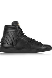 Fringed leather high-top sneakers