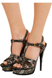 Saint Laurent Tribute snake-effect leather sandals