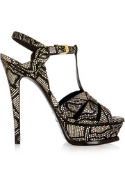 Tribute snake-effect leather sandals