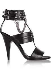 Studded chain-embellished leather sandals