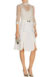 Tessel embellished wool-crepe skirt
