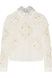 Tundra crocheted and embroidered tulle top