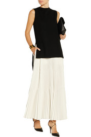 Pleated crepe de chine maxi skirt