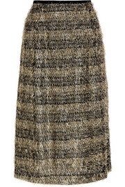 Fringed striped lamé and jersey midi skirt