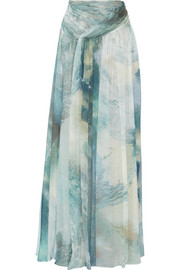 Gathered printed silk-chiffon maxi skirt