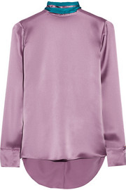 Two-tone silk-satin blouse