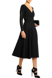 Martina pointelle-trimmed stretch-crepe dress