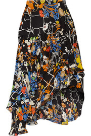 Laboni printed silk-jacquard skirt